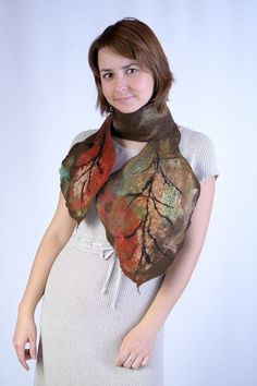 Felt Scarves – Brown & red, autumn, nuno felted fall leave... – a unique product by BlanCraft on DaWanda