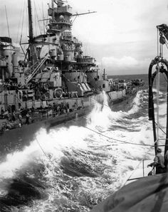 """View of the superstructure of the """"Massachusetts"""" (BB-59, Class """"South Dakota"""") battleship from the side of the tanker «Kaskaskia» (AO-27) class T3-S2-A in the October 17, 1944. Clearly visible air defense system and the battleship Mk.8 antenna of the the radar. Time taken: 17 October 1944"""