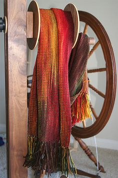 woven scarf, painted warp