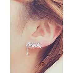 Buy 'kitsch island – Rhinestone Leaf Earring' with Free International Shipping at YesStyle.com. Browse and shop for thousands of Asian fashion items from South Korea and more!