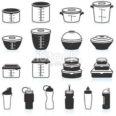 Food and Liquid Containers black & white vector icon set Royalty Free Stock Vector Art Illustration Vector Icons, Vector Art, Food Icons, Food Containers, Icon Set, Royalty, Black White, Illustrations, Photoshop