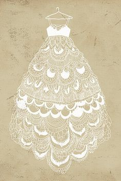 Wedding dress idea - have an artist draw it white on unbleached stock = pretty