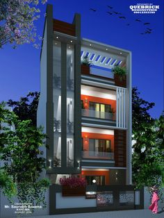 Simple Exterior Design Of House 2020 Super modern facade as well as minimal entrance was initially point that grabs your attention while you're approaching simple exterior design of house. 3 Storey House Design, Bungalow House Design, House Front Design, Small House Design, Modern Exterior House Designs, Modern House Design, Exterior Design, House Elevation, Building Elevation