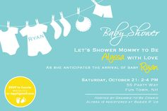 Baby Shower Invitation Clothes on a Line - Baby Shower Invite - Blue Yellow Green Pink Purple Brown Orange - Baby Shower Boy or Girl Invite. $14,00, via Etsy.