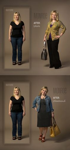 See Before & After for Work & Weekend Attire for the Hide Hips & Add Height Shape Solution. www.monroeandmain.com