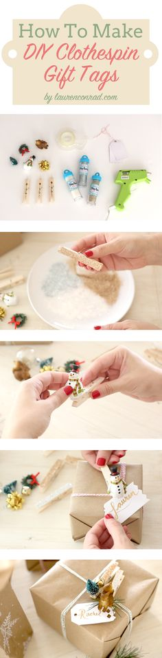 How to Make a DIY Clothespin Holiday Gift Tag | via Lauren Conrad #holiday2014