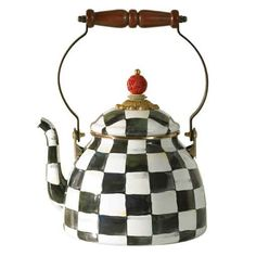 Courtly Check Tea Kettle by Macklenzie-Childs: Available in 2 and 3qt size. #Tea_Kettle #Mackenzie_Childs #Courtly_Check_Tea_Kettle