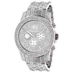 Affordable Iced Out Watches! This Luxurman Mens Diamond Watch features carats of round diamonds masterfully set on the bezel, sides, lugs and the band of this silver stainless steel watch. The face of this LUXURMAN wrist watch showcases three white m White Watches For Men, Diamond Watches For Men, Mens Diamond Jewelry, Best Watch Brands, Thing 1, Chains For Men, Metal Bands, Jewelry Watches, Men's Watches