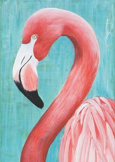 Pink Flamingo Retro - Acrylic - Print of Original Art - Original artwork by Catherine Currie. Flamingo Painting, Flamingo Art, Simple Canvas Paintings, Acrylic Painting Canvas, Art Mini Toile, Mini Canvas Art, Guache, Animal Paintings, Painting & Drawing