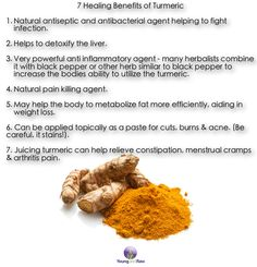 Turmeric is great in foods, juices and in elixirs. If you can find the root at a grocery store, put a little chunk in your smoothie or juice for inflammation or acne. ~ YoungandRaw.com Try this turmeric cocktail: http://www.youngandraw.com/reduce-inflammation-with-a-turmeric-cocktail/