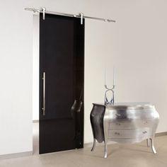 Black Chrome Glass Sliding Door with Exposed Sliding Hardware. Transparent Black C520 Barn Sliding Door