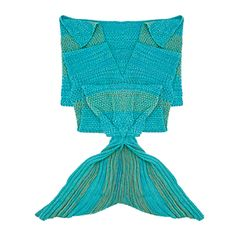 iEFiEL Blue Handcrafted Knitted Mermaid Tail Blanket Sleeping Bag for Adult