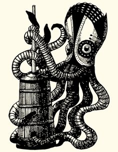 Steampunk. Pen illustration. animated gif. Churning squid.  By Eli H. Han http://elihshan.com  For BOOST&Co - mezzanine finance