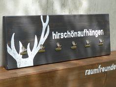 """Geweihe & Trophäen - Kleines Memoboard """"hirschönaufhängen"""", anthrazit - ein Designerstück von schoenHUES bei DaWanda"""