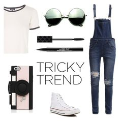 """""""Untitled #55"""" by little-direction98 ❤ liked on Polyvore featuring Topshop, Cheap Monday, Converse, Revo, Gucci, Trish McEvoy, Kate Spade, TrickyTrend and overalls"""