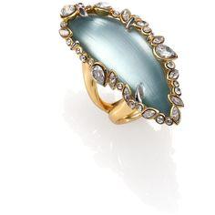 Alexis Bittar Jagged Edge Swarovski Crystal & Lucite Ring