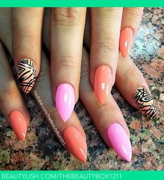 Exotic pink coral and nude with design stiletto nails