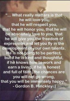 I love this quote by Gordon B. Hinckley about marriage. Great Quotes, Quotes To Live By, Me Quotes, Inspirational Quotes, Qoutes, Vows Quotes, Mormon Quotes, Super Quotes, Famous Quotes