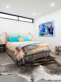 Rebecca Judd's guest bedroom. Here at Invitation Boutique we love the artwork on the wall!