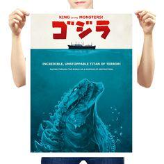 El poster de 'Jaws' mezclado con el de Godzilla. ¿Por qué? Porque razones. Diseño fan por Harantula.