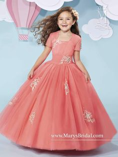 Girls Cap Sleeve Tulle Dress with Embroidery by Mary's Bridal Cupids F511