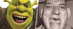 Real-life inspiration for Fictional characters: Wrestling-star Maurice Tillet is rumored to be the inspiration for DreamWorks' Shrek. Shrek, Cartoon Pics, Cartoon Characters, Fictional Characters, Tom Cruise, Marvel Films, Marvel Comics, Aladdin, Pixar