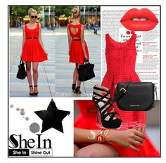 """""""Red Dress"""" by majmunce-patka ❤ liked on Polyvore featuring MICHAEL Michael Kors and Lime Crime"""