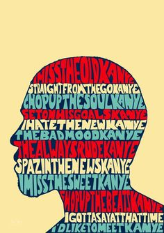 516172c6343 Kanye West I Love Kanye Lyrics Illustrated Poster Print A6