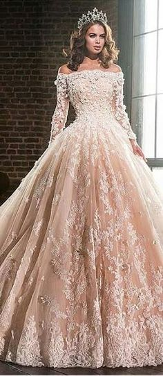 Fairytale Princess Wedding-Lavish Tulle & Satin Off-the-shoulder Ball Gown Wedding Dresses With Lace Appliques Princess Wedding Dresses, Bridal Dresses, Gown Wedding, Tulle Wedding, Princess Ball Gowns, Mermaid Wedding, Princess Crowns, Flapper Dresses, Barbie Princess