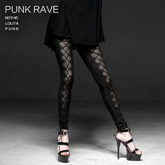 5e01b414343 PUNK RAVE Gothci Sexy Lady Laciness Floral Chiffon Fashion black Mesh  Leggings  leggings  collection