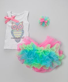 Look what I found on #zulily! Gray Owl Tank & Hot Pink Pettiskirt - Infant, Toddler & Girls by So Girly & Twirly #zulilyfinds