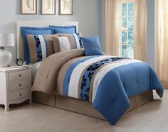 12 Piece Jolene Blue and Taupe Bed in a Bag Set
