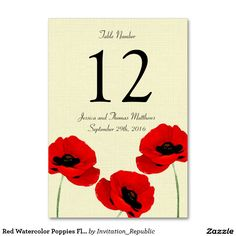 Red Watercolor Poppies Floral Wedding Collection Table Card