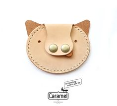 Hand Stitched Leather Coins Case Piggie by CaramelLeatherCrafts