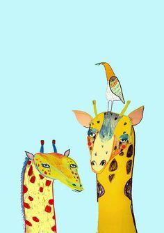 Two Giraffes and a Bird. Art Print by Ashley door AshleyPercival, $30.00