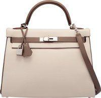 Hermes Special Order Horseshoe 32cm Craie & Etain Clemence Leather Retourne Kelly Bag with Palladium Hardware X...