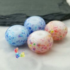 Lampwork Glass Beads Pink n Blue Mallow by GlitteringprizeGlass  New Pink n Blue Mallow Fritty Beads  Set on an opalescent white base, these beads are decorated with colourful frit blends!  Trudi   #glitteringprizeglass #lampwork #beads #beadsupplier #jewelrydesign #handmade #jewellerydesign