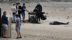 20 July: Body on the beach? Craig Dinsdale posted several hq photos of the filming at the Llandullo promenade. Eddie Izzard, James D'arcy, Finishing School, Judi Dench, Thriller, Lighthouse, Beach, Photos, Bell Rock Lighthouse
