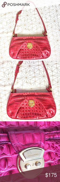 "Brahmin pink crocodile shoulder bag - Size: 12.5"" L 7"" W - Condition: great! - Color: Pink with gold hardware  - Pockets: yes - Lined: yes - Closure: zipper  - Style: crocodile pattern  - Extra notes: minor wear on metal logo closure, minor scuff on bottom of bag   💥💥💥OFFERS WELCOME💥💥💥 Brahmin Bags Shoulder Bags"