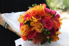 Fall bouquet. Orange and red bouquet.