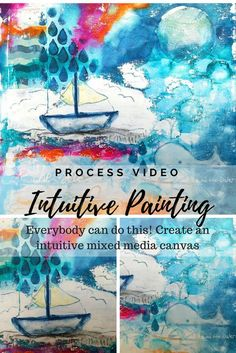 Be inspired by an intuitive painting process. Create an wonderful mixed media canvas without having a plan. This is the best therapy for mental health. Canvas Painting Tutorials, Acrylic Painting Lessons, Painting Process, Painting Art, Paintings, Art Journal Prompts, Art Journaling, Journals, Art Articles