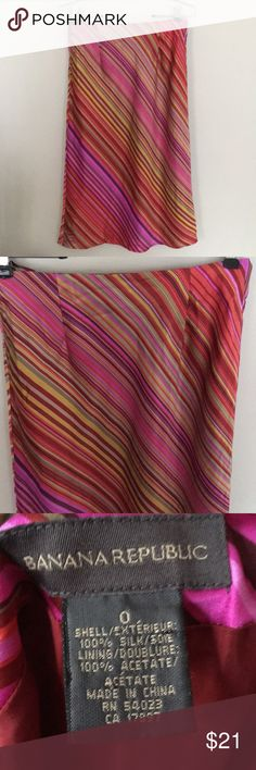 Banana republic multicolor striped silk skirt 0 Banana republic multicolor striped 100% silk skirt size 0.Measurements are: waist 27 inches length 29 inches. Banana Republic Skirts