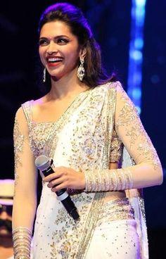 Deepika Padukone in White Saree | Veethi