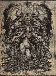 'It is a man's own mind, not his enemy or foe, that lures him to evil ways. Dark Artwork, Dark Art Drawings, Ange Demon, Demon Art, Arte Horror, Horror Art, Castlevania Wallpaper, Heavy Metal Art, Totenkopf Tattoos