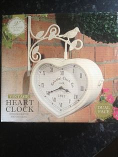 Vintage Clock Heart Cream Shabby Chic Wall Double Sided Outdoor/Indoor Garden | eBay