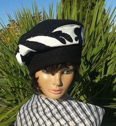 Béret noir et blanc femme NEVADA : Chapeau, bonnet par lemur-rose