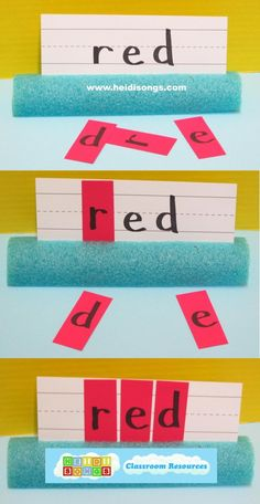 Pool noodle project from HeidiSongs:  The children match up the letters to form the words that they are learning to read.
