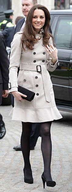 Cute trench coat - but the nylons have to go!  I would wear boots instead of heels, too. :-)