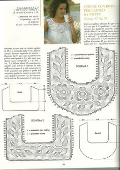crochet yoke for t shirt - Salvabrani Col Crochet, Gilet Crochet, Filet Crochet Charts, Crochet Diy, Crochet Fabric, Crochet Motifs, Crochet Collar, Crochet Diagram, Crochet Woman