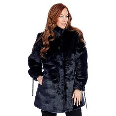 725-511 - Pamela McCoy Faux Fur Drawstring Sleeved Stand Collar Hook Front Coat. Shown in dark navy!